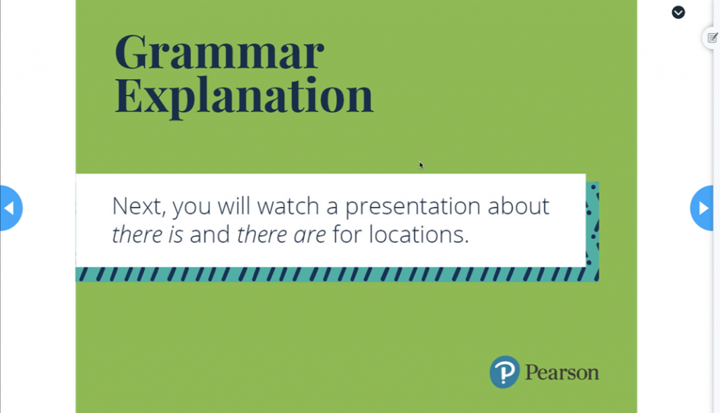 Grammar lesson in Nearpod